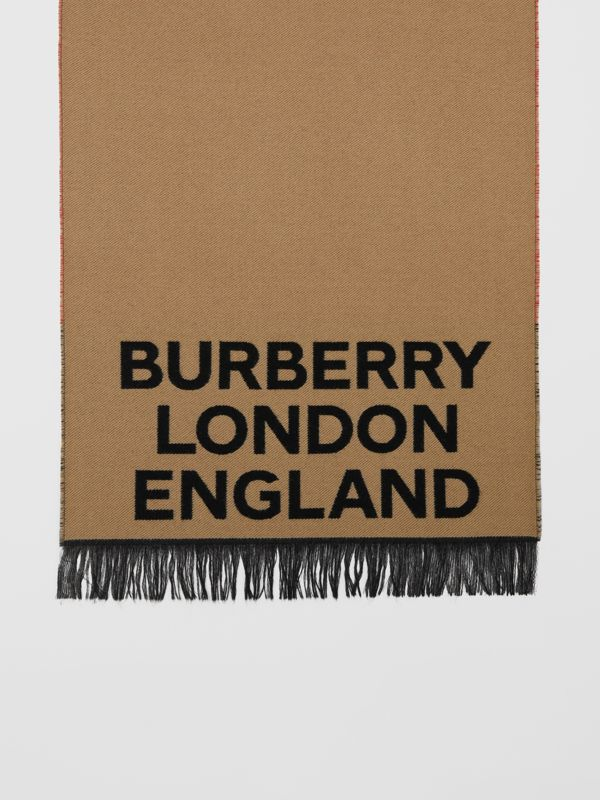 Love and Logo Wool Silk Jacquard Scarf in Archive Beige | Burberry - cell image 3