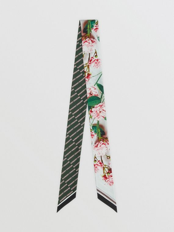 Floral and Logo Print Silk Skinny Scarf in Rose Pink