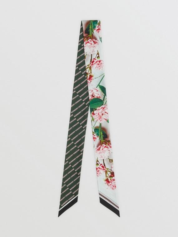 Pañuelo estrecho en seda con estampado floral y logotipo (Rosa Real)