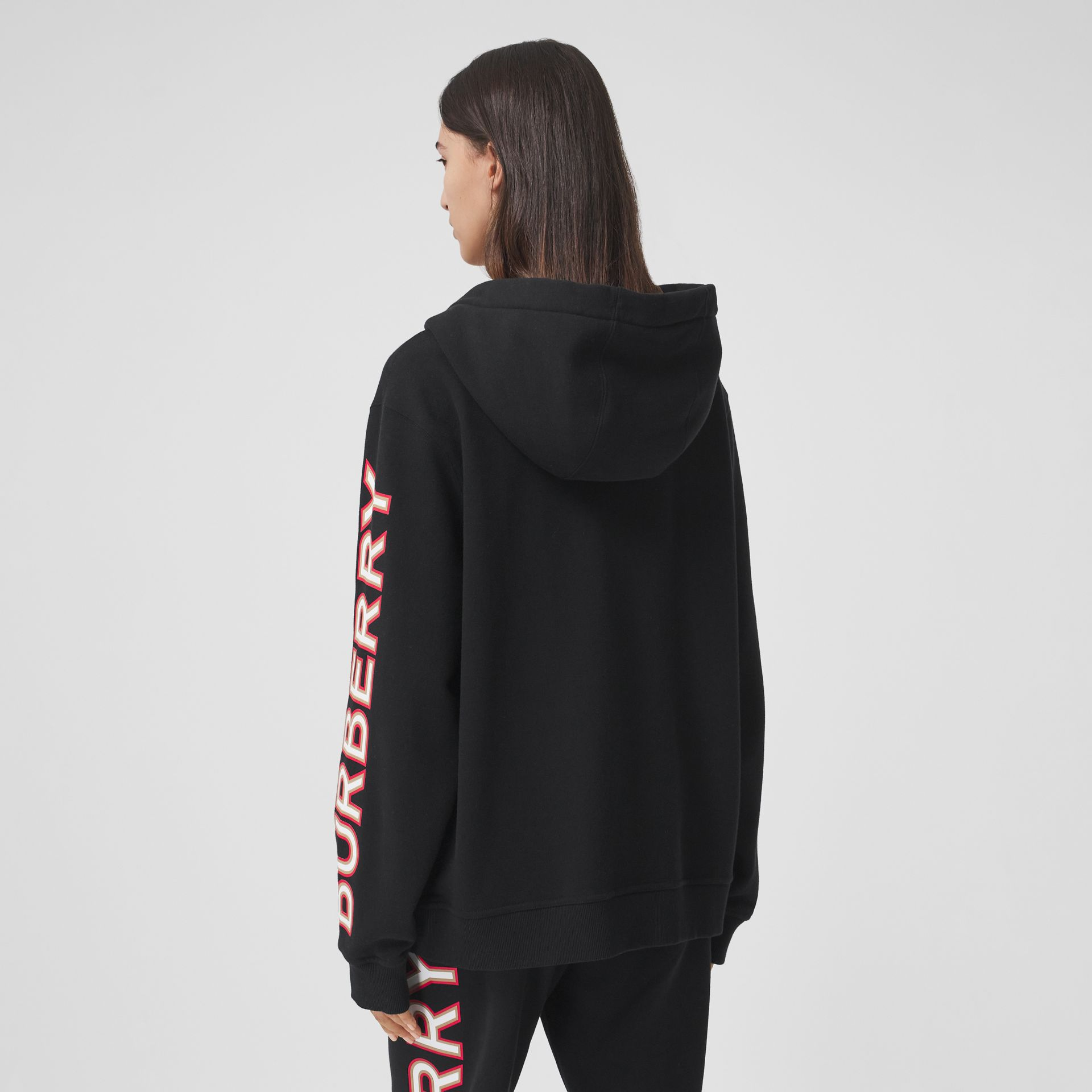 Logo Print Cotton Oversized Hooded Top in Black - Women | Burberry - gallery image 2