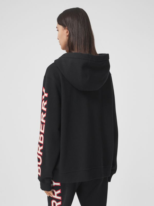 Logo Print Cotton Oversized Hooded Top in Black - Women | Burberry - cell image 2