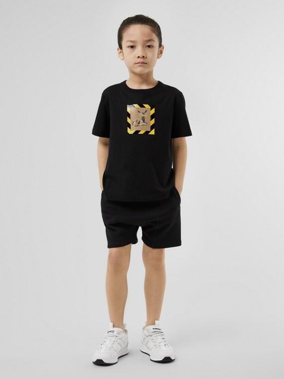Deer Print Cotton T-shirt in Black