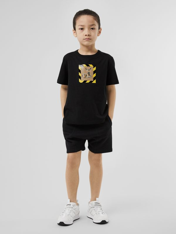 Deer Print Cotton T-shirt in Black   Burberry - cell image 2