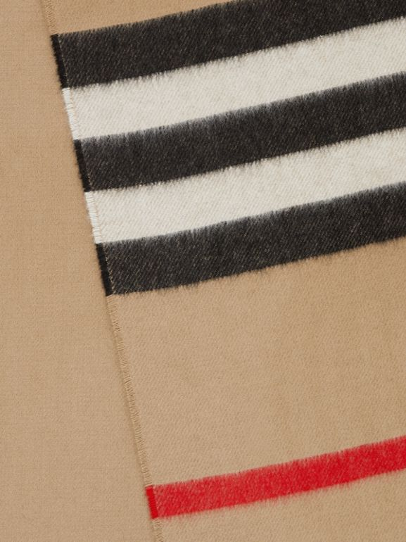 Icon Stripe Cashmere Jacquard Scarf in Archive Beige | Burberry - cell image 1