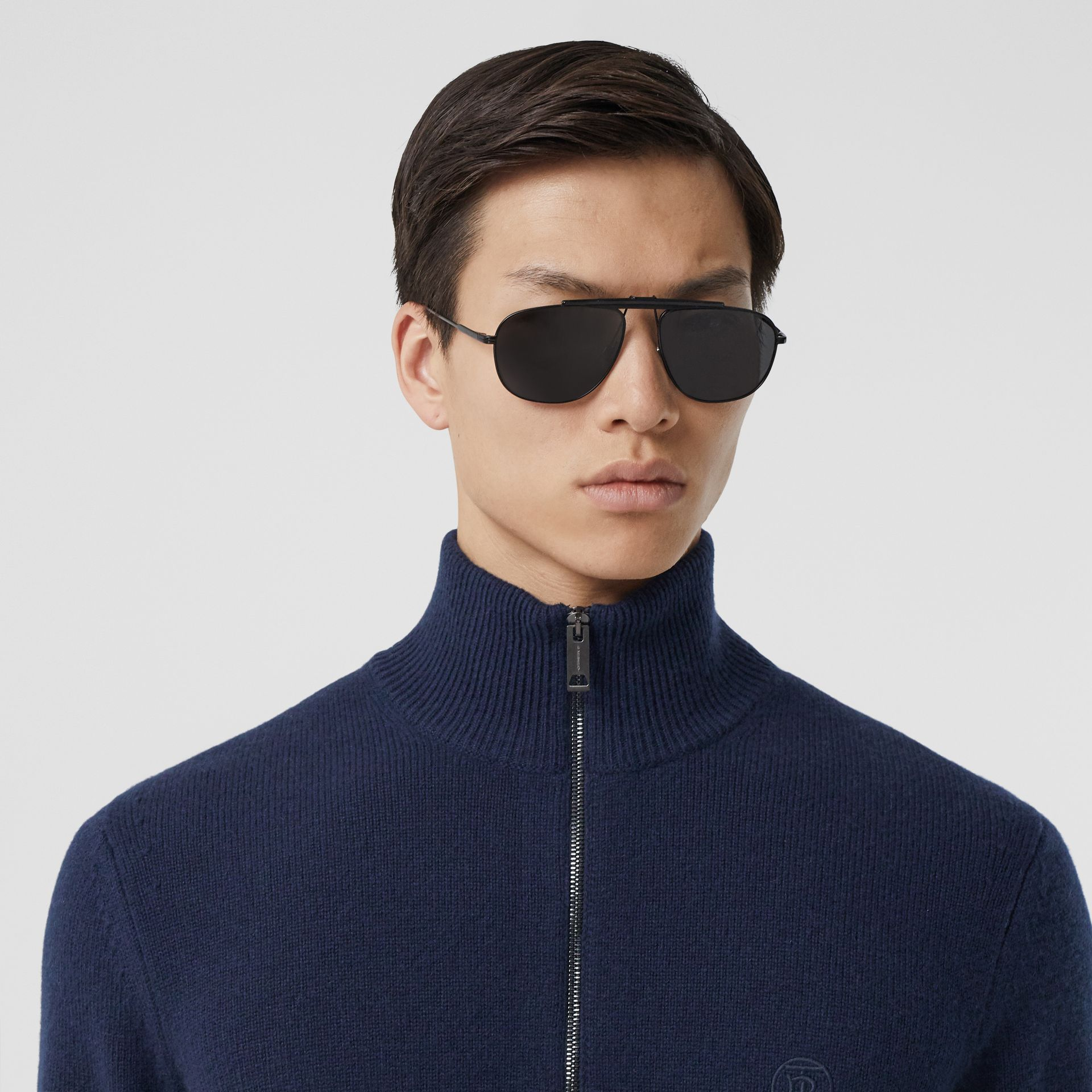 Monogram Motif Cashmere Funnel Neck Sweater in Navy - Men | Burberry - gallery image 1