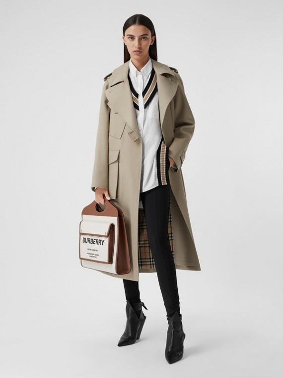 Tielocken-Mantel aus Baumwollgabardine (Steinfarben)