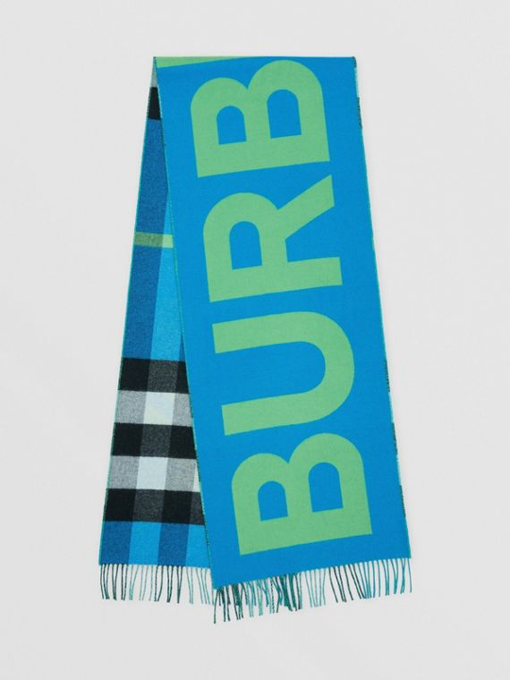 Reversible Check and Logo Cashmere Scarf in Azure Blue