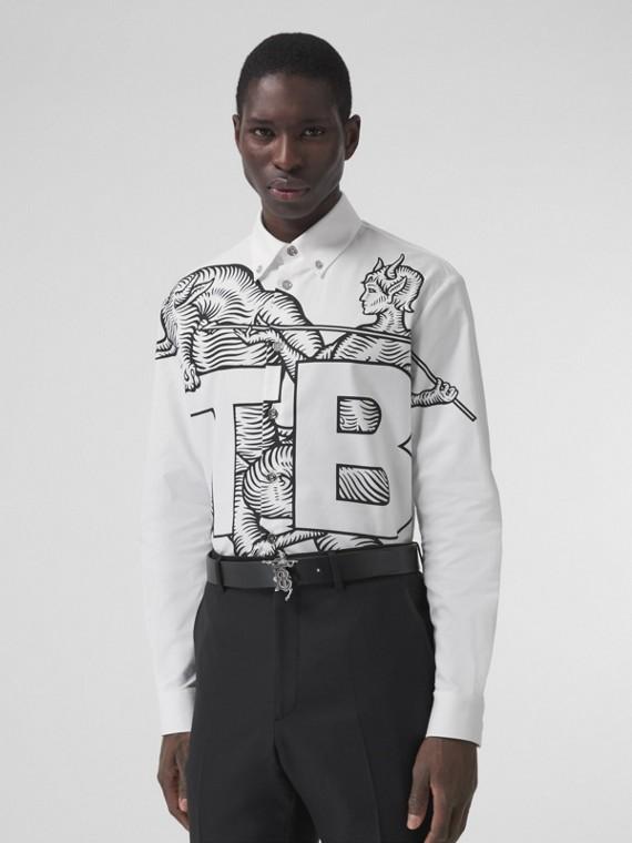 Mythical Alphabet Monogram Motif Cotton Shirt in White
