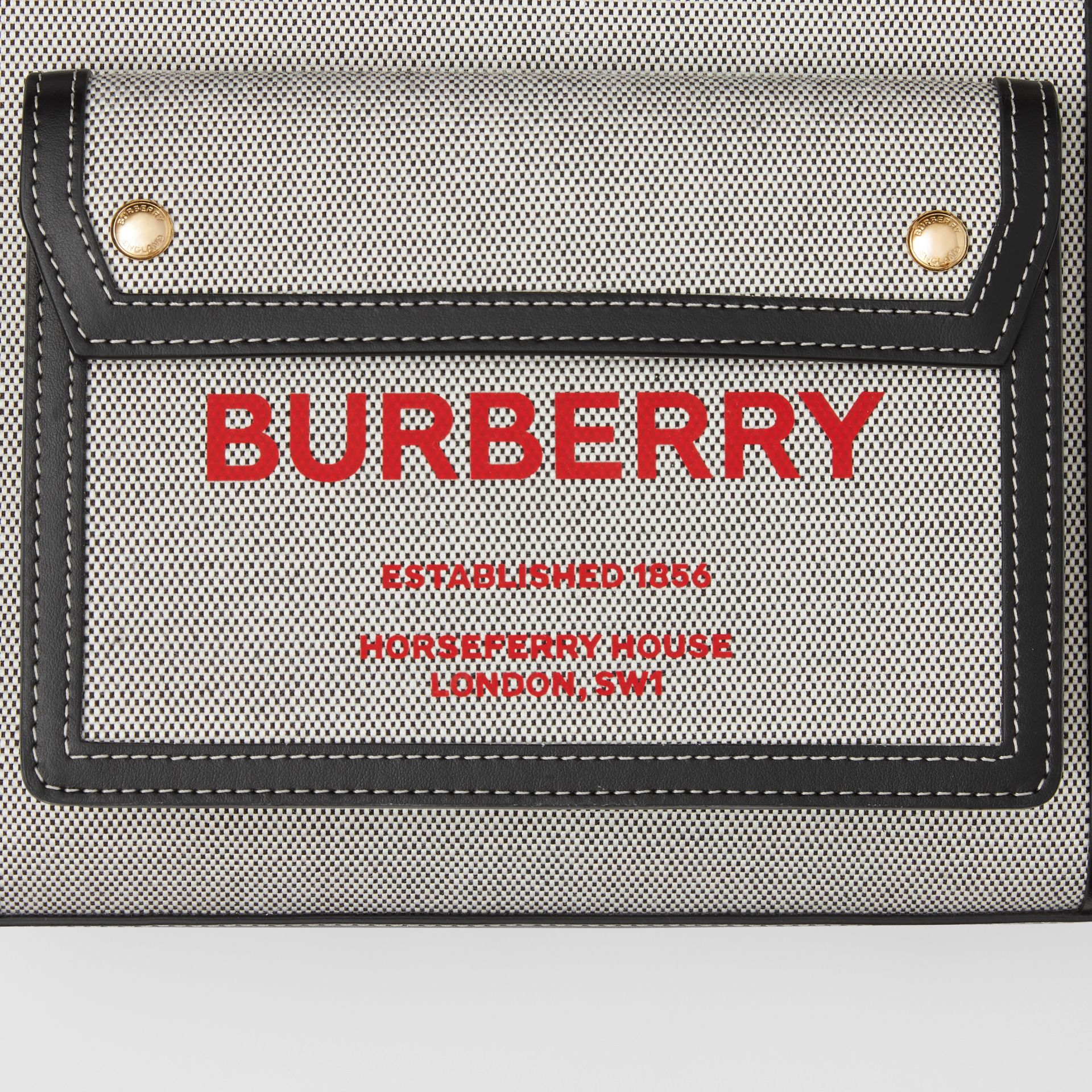 Mini Two-tone Canvas and Leather Pocket Bag in Black/fiery Red - Women | Burberry - gallery image 1