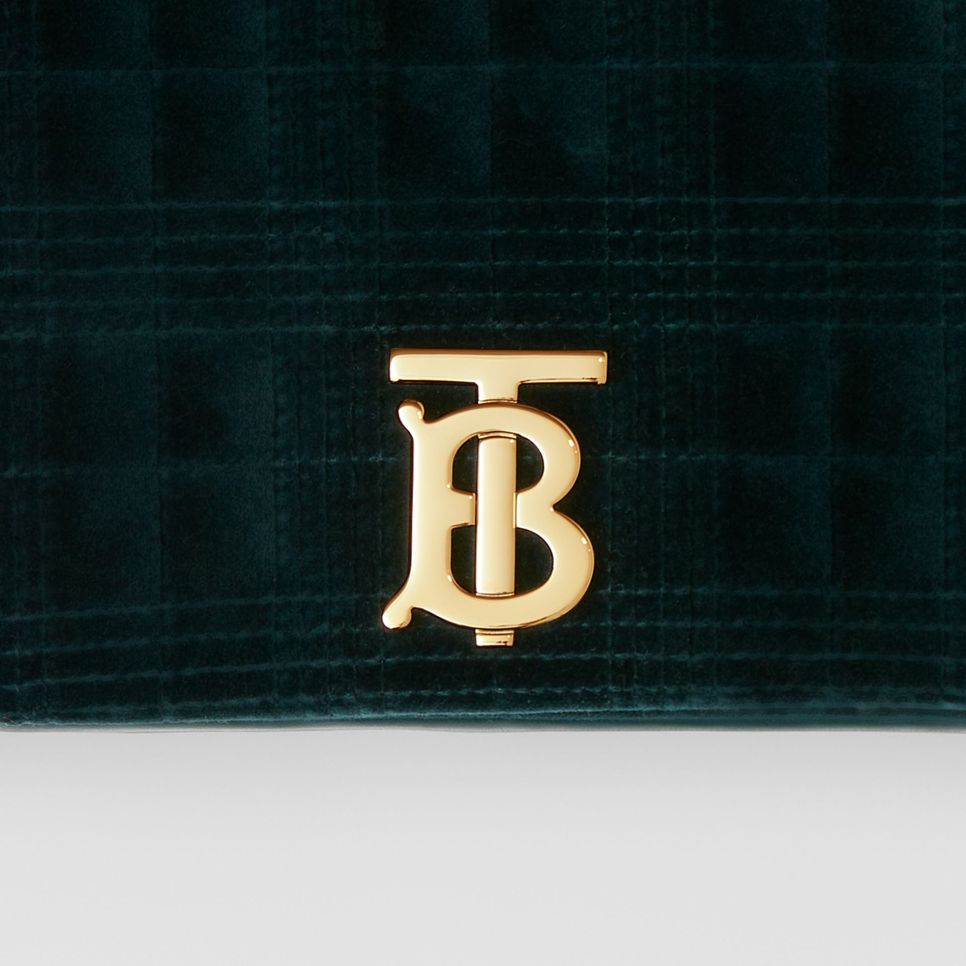 Small Quilted Velvet Lola Bag in Dark Green - Women | Burberry United Kingdom - gallery image 1