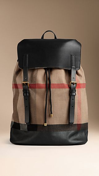 Brit Check Leather Trim Backpack