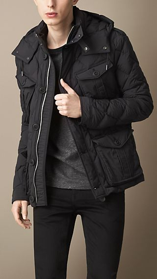 Down-Filled Field Jacket with Removable Hood