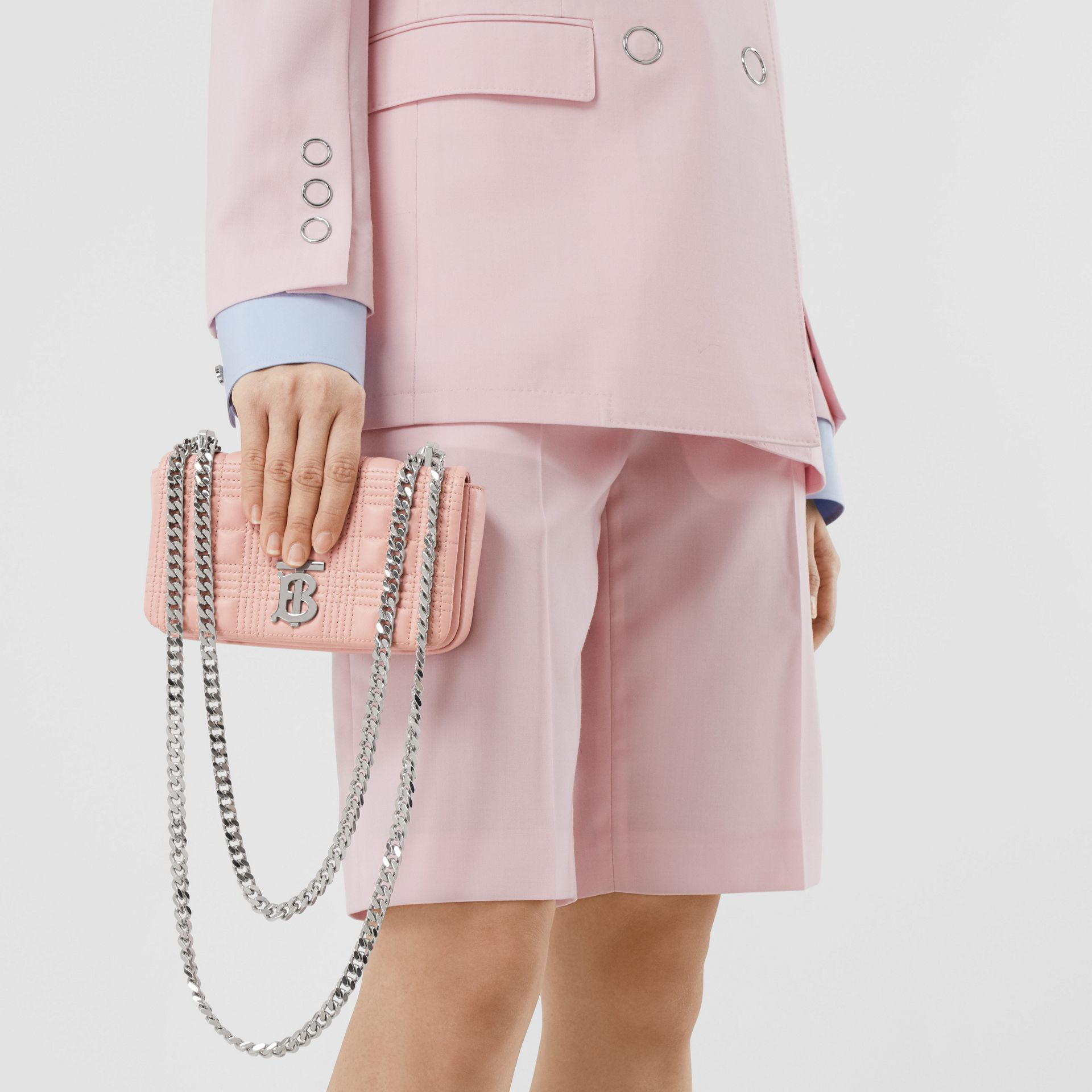 Mini Quilted Lambskin Lola Bag in Blush Pink - Women | Burberry - gallery image 8
