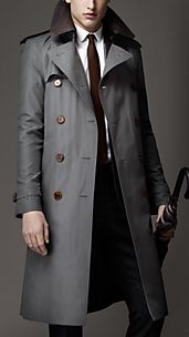 Long Cotton Gabardine Alligator Collar Trench Coat