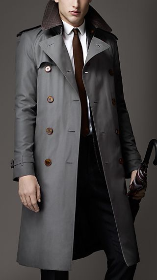 Long Alligator Collar Trench Coat