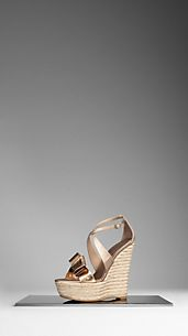 Snakeskin and Perspex Bow Espadrille Wedges