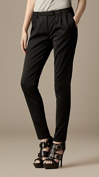 Pleat Detail Cotton Blend Trousers