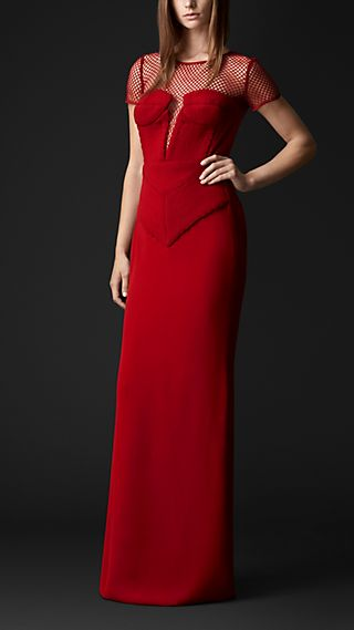 Engineered Body Floor-Length Silk Dress