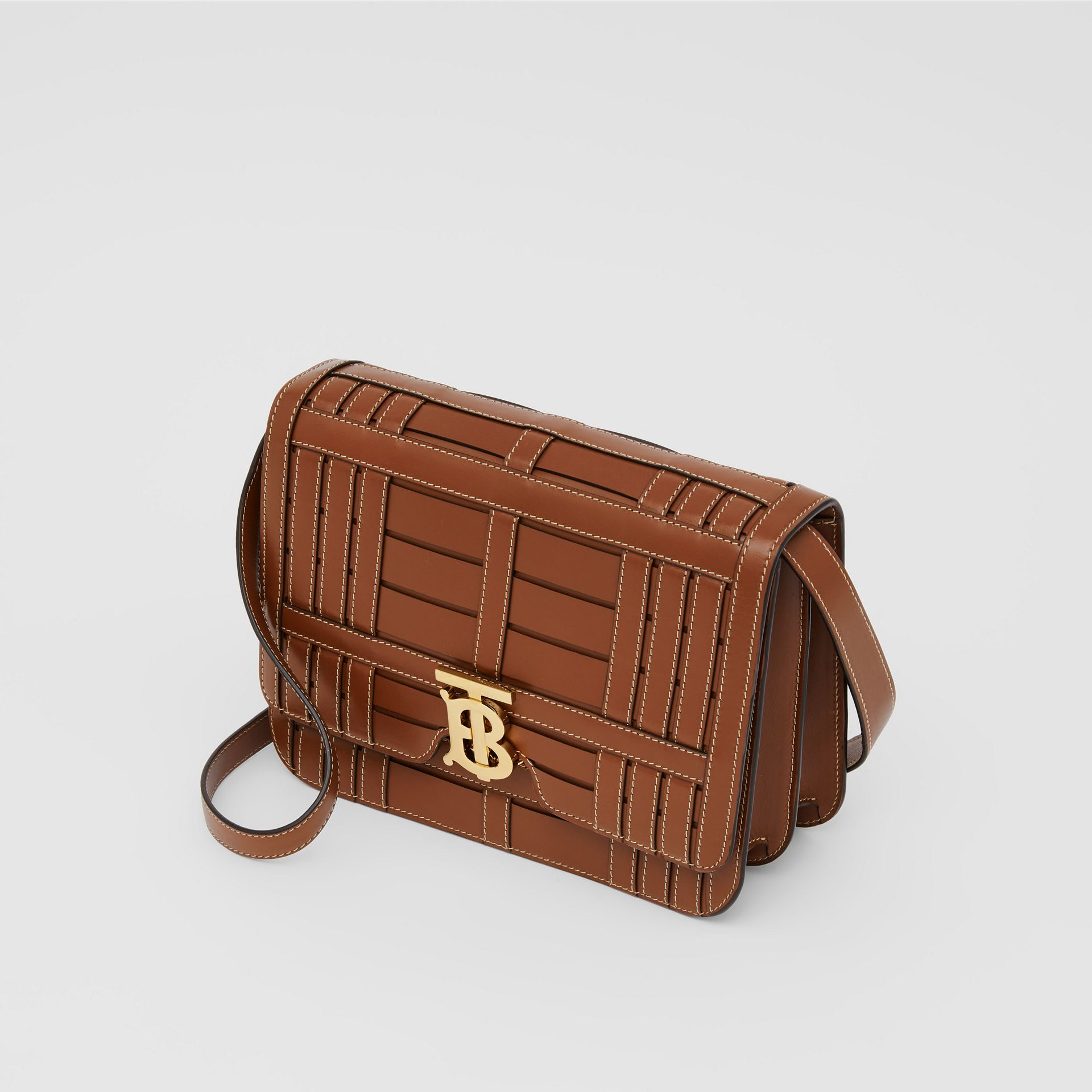 Medium Woven Leather TB Bag in Tan - Women | Burberry - gallery image 3