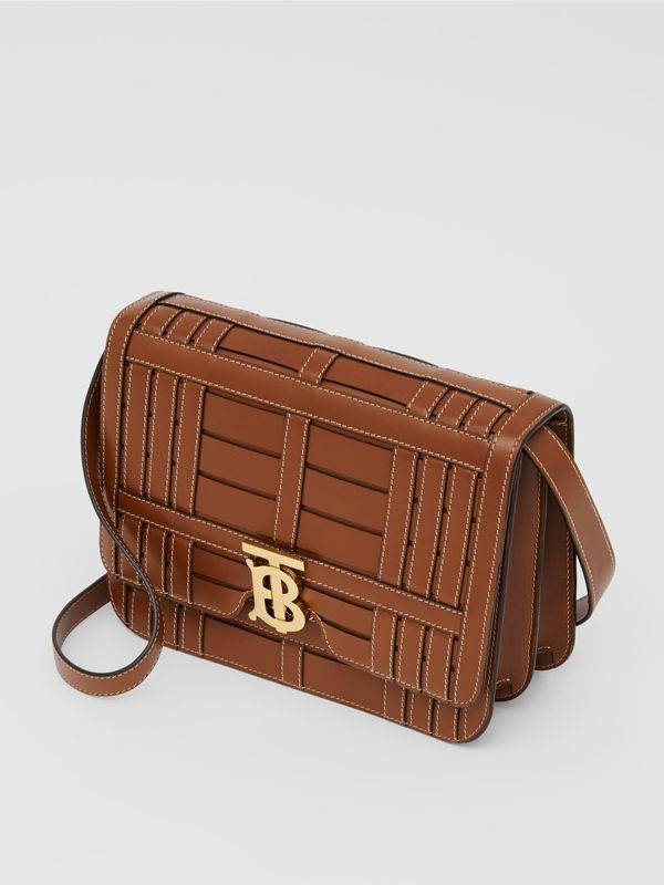 Medium Woven Leather TB Bag in Tan - Women | Burberry Canada - cell image 3