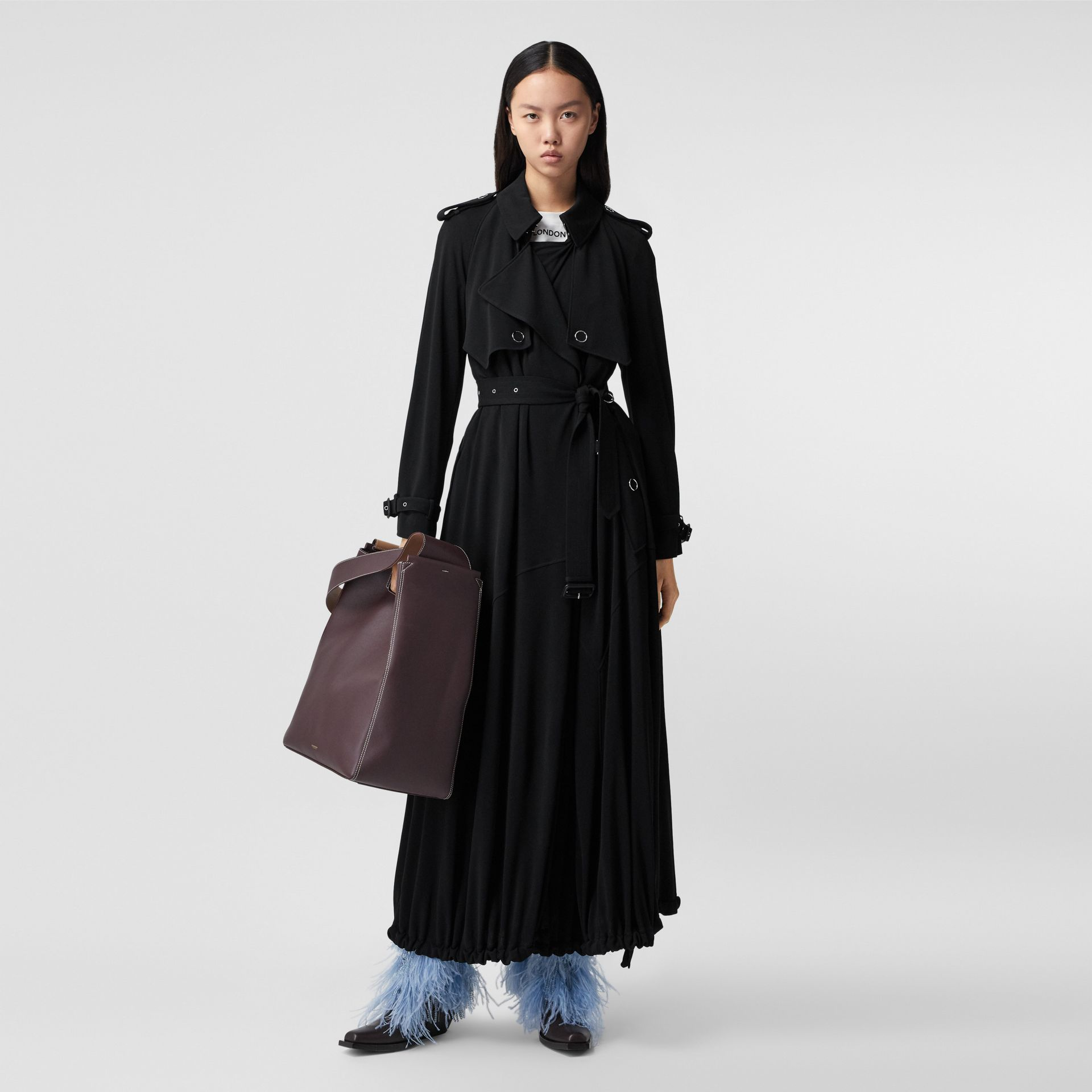 Press-stud Detail Jersey Trench Coat in Black - Women | Burberry - gallery image 0
