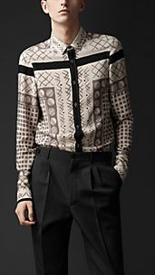 Silk Woodcut Print Shirt
