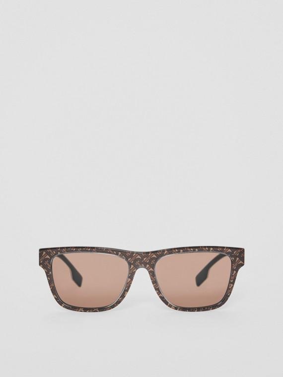 Monogram Stripe Square Frame Sunglasses in Honey