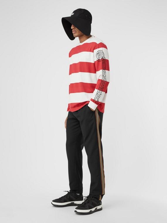 標誌性條紋細節羊毛馬海束口褲 (黑色)