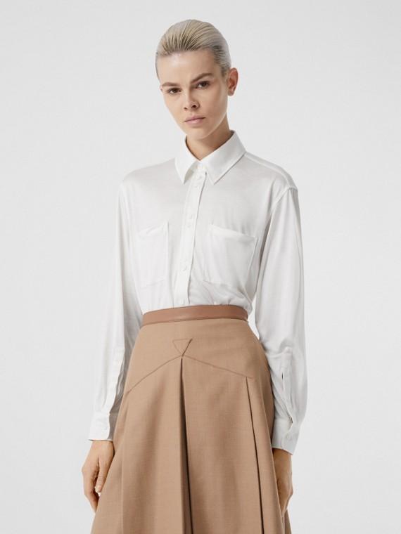 Camicia oversize in jersey di seta (Bianco Naturale)
