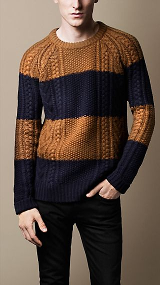 Block Stripe Cable Knit Sweater