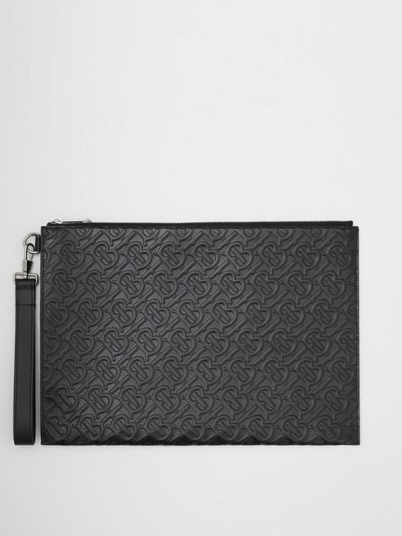 Large Monogram Leather Zip Pouch in Black