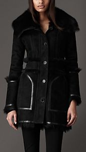 Funnel Collar Shearling Coat
