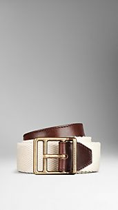 Ceinture sangle à touches de cuir