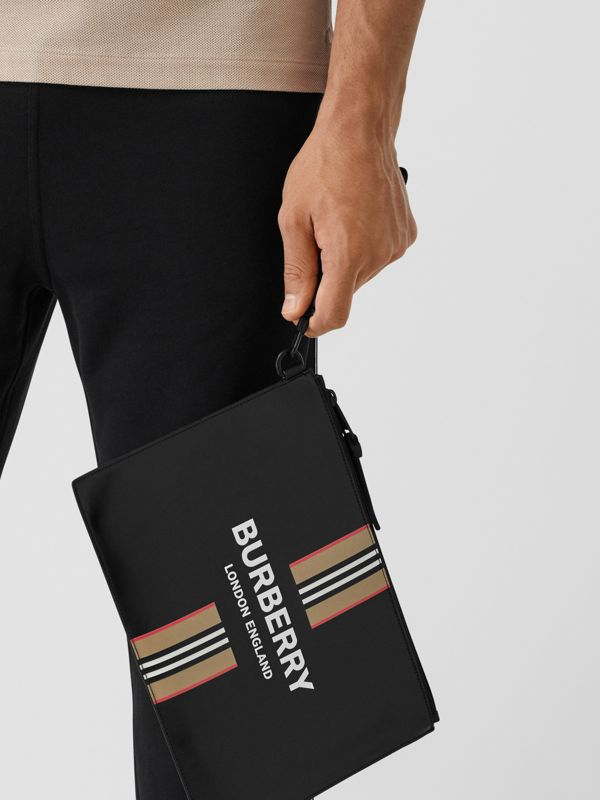 Logo and Icon Stripe Print Coated Canvas Zip Pouch in Black | Burberry United Kingdom - cell image 3