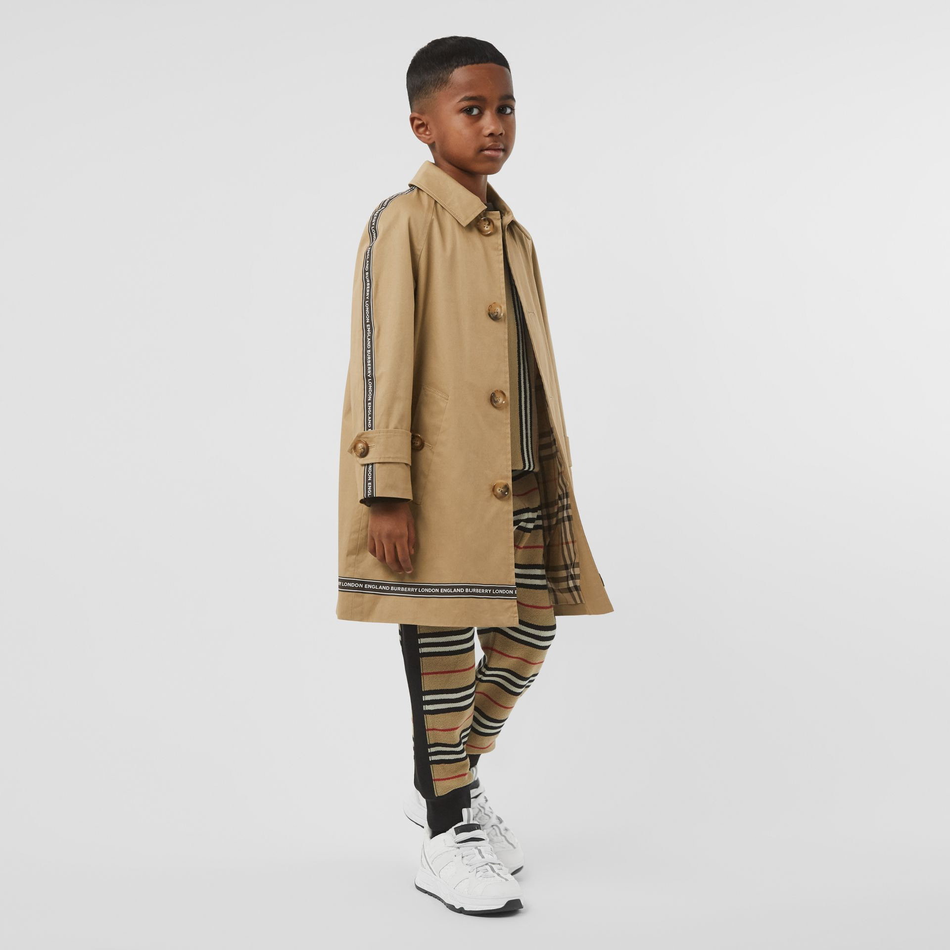 Logo Tape Cotton Car Coat in Honey   Burberry - gallery image 2