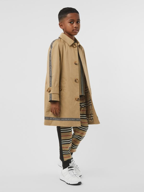 Logo Tape Cotton Car Coat in Honey   Burberry - cell image 2