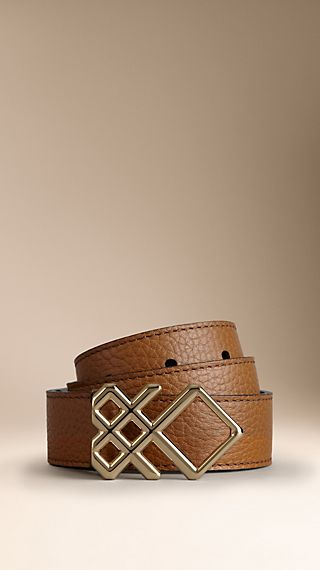 Grainy Leather Buckle Belt