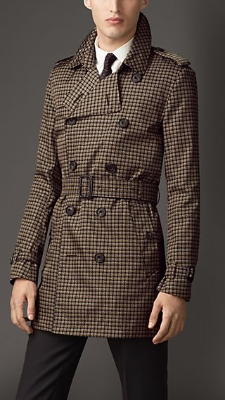 Mid-Length Tweed-Graphic Technical Trench Coat