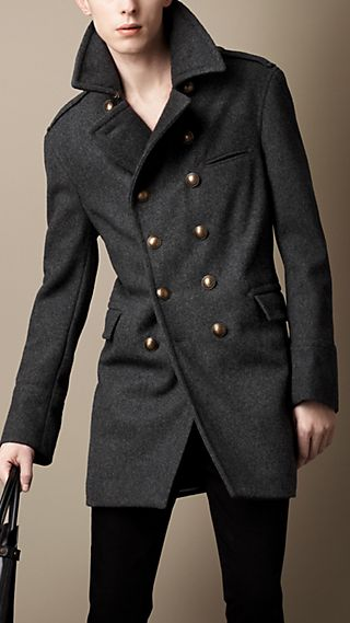 Melton Wool Blend Military Coat