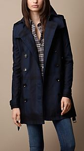 Short Cotton Check Trench Coat