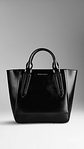 Grand sac tote portrait en cuir London verni