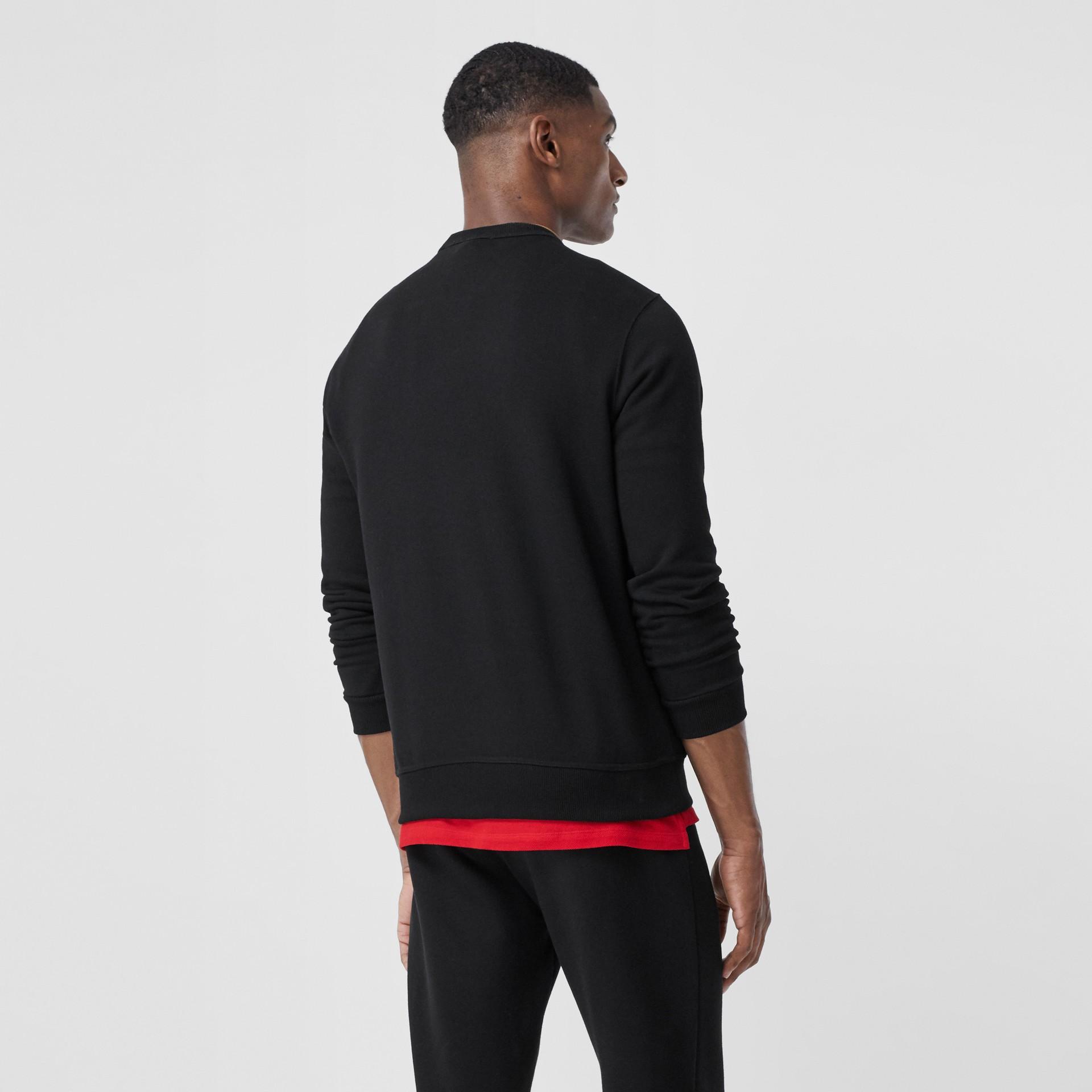 Monogram Motif Cotton Sweatshirt in Black - Men   Burberry - gallery image 4