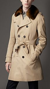 Mid-Length Cotton Gabardine Fur Collar Trench Coat