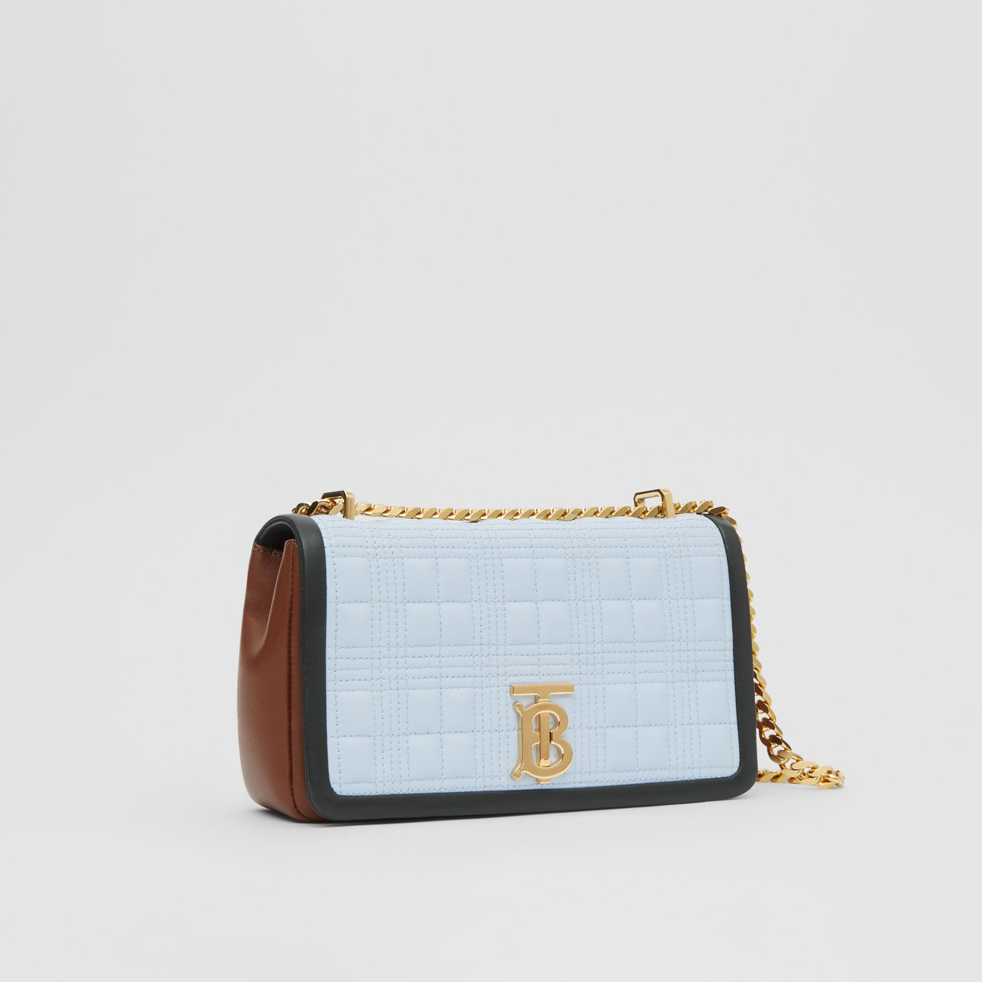 Small Quilted Tri-tone Lambskin Lola Bag in Pale Blue/dark Pine - Women | Burberry - gallery image 6