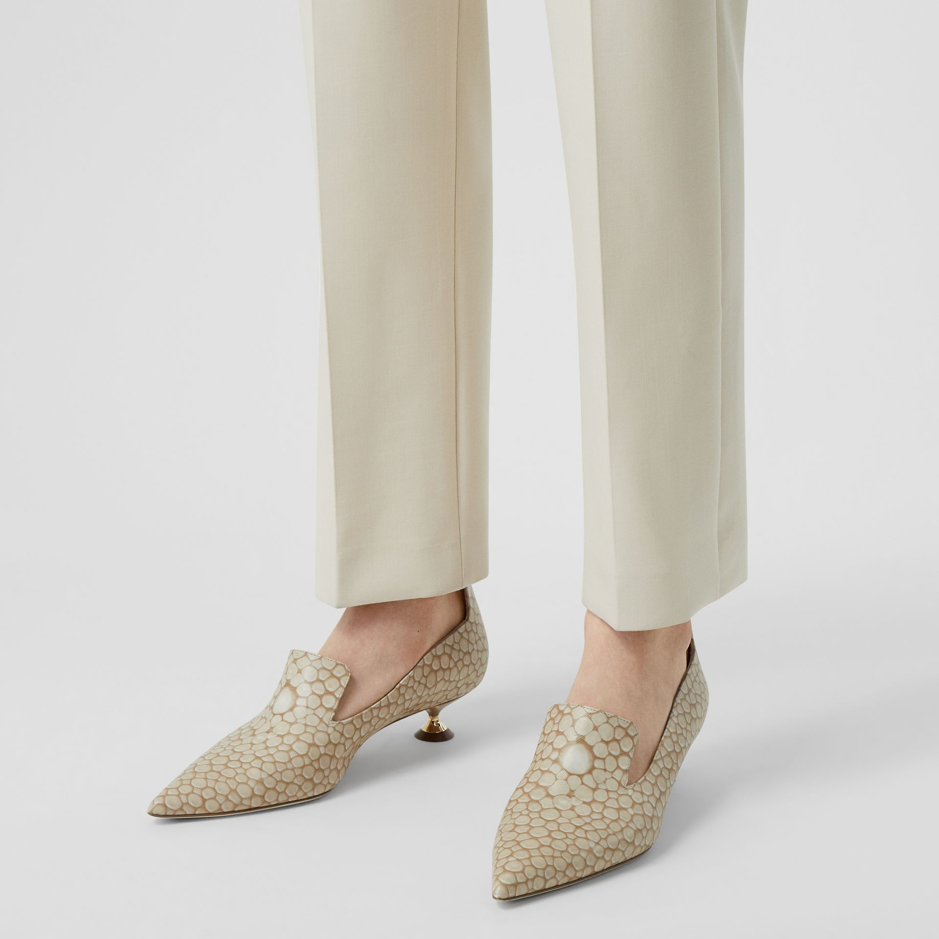 Straight Fit Stretch Wool Tailored Trousers in Pale Ochre - Women | Burberry United Kingdom - gallery image 7