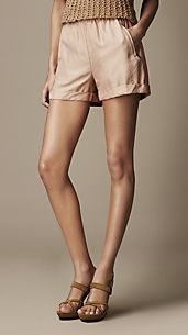 Silk Turn-Up Cuff Shorts