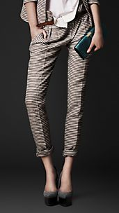 Striped Seersucker Trousers