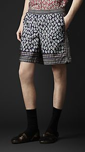 Long Geometric Diamond Print Swim Shorts