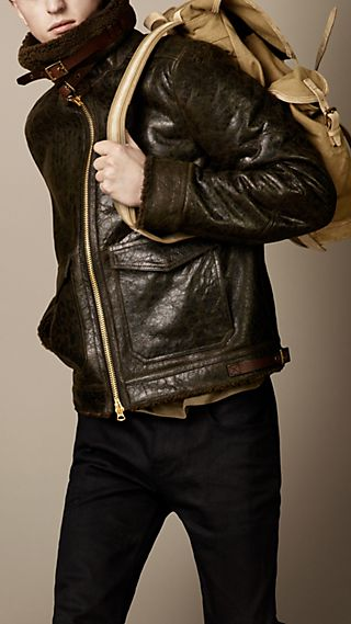 Cracked Leather Shearling Blouson