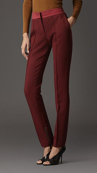 Satin Detail High-Waist Trousers